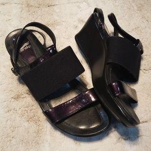 Dansko Black Fabric and Leather Wedge Sandals